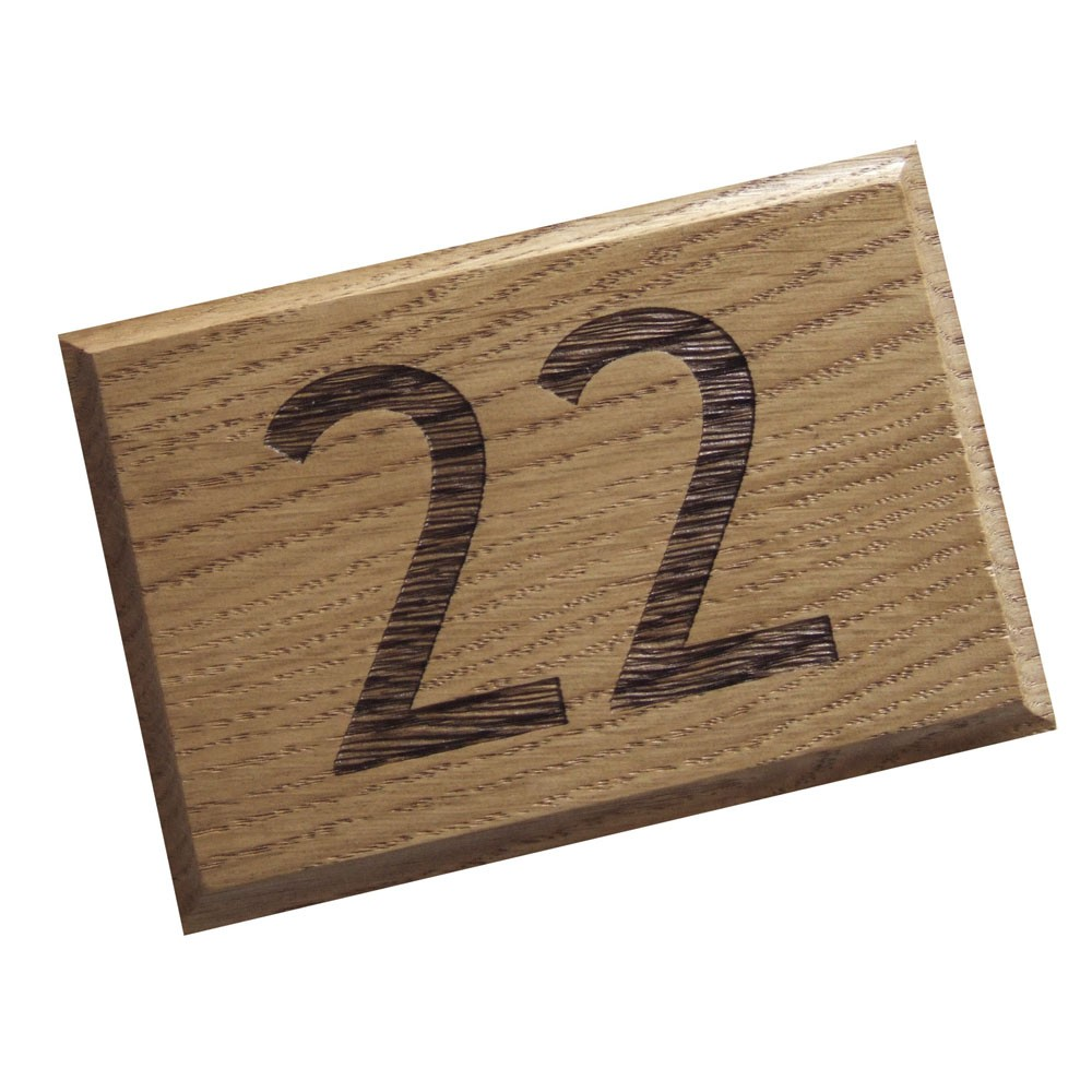 Engraved Oak - House Number Plaque - 1 or 2 digit