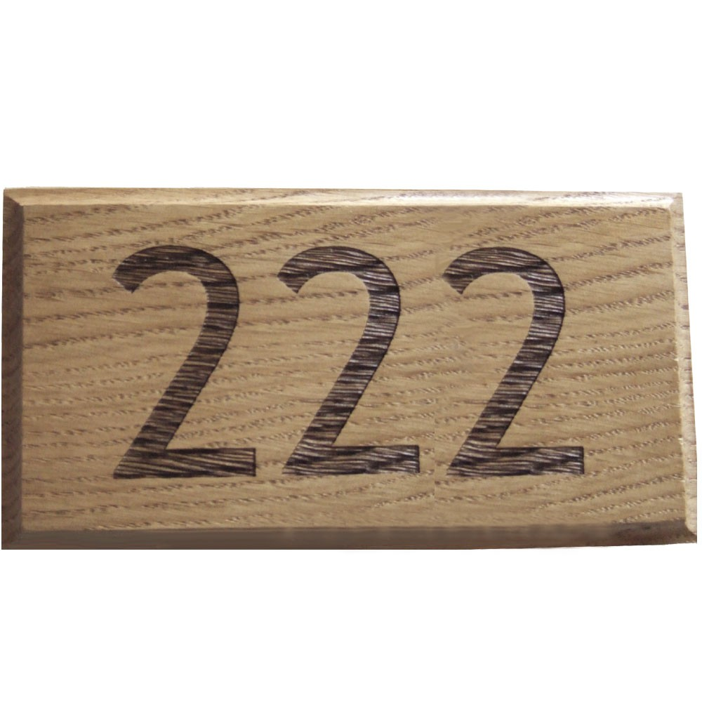 Engraved Oak - House Number Plaque - up to 3 digit