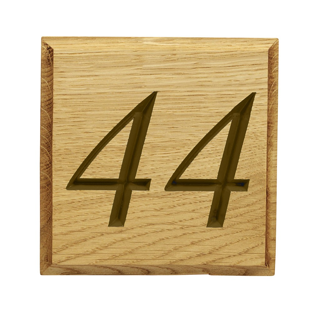 Carved Oak House Number Plaque with Unpainted Natural Oak Lettering