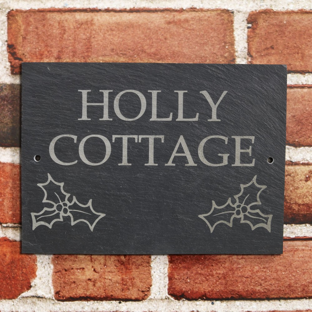 Natural Slate House Sign - 2 row + motif