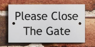 Aluminium Effect Gate Signs - Made to Order with choice of message