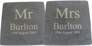 Mr & Mrs Wedding Date Slate Coasters (pair)
