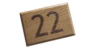 Engraved Oak - House Number Plaque - 1 or 2 digit
