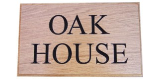 Carved Oak - Wooden House Sign - 2 row
