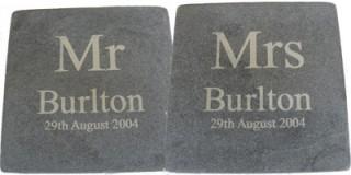 Mr & Mrs Wedding Date Slate Coasters (pair)