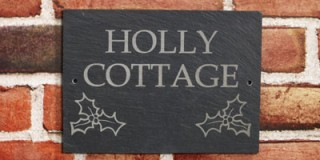 Natural Slate House Sign - 2 row + motif
