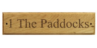 Engraved Oak - Wooden House Sign - 1 row