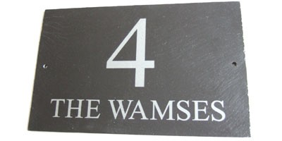 Your house number and street address or house name on a single stylish slate sign