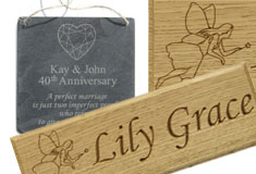 Gifts including Personalised Slate Cheese boards and Kids Name Plates for bedroom doors and play houses >>>
